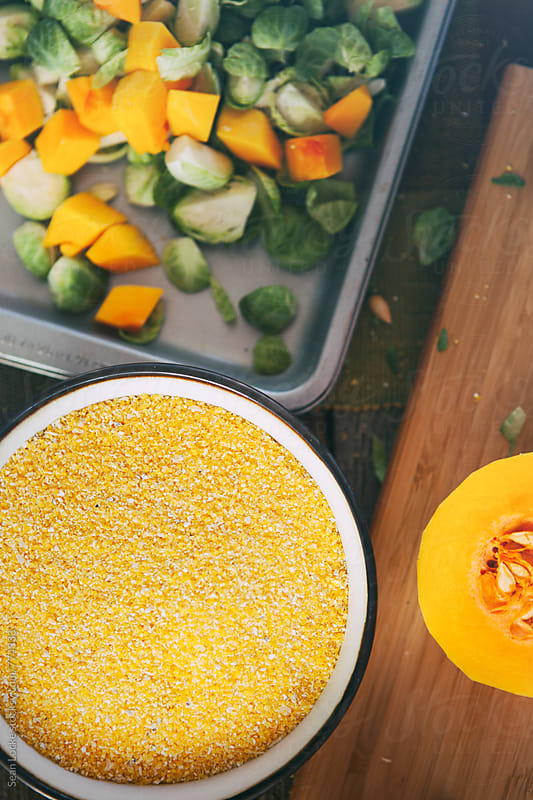 Polenta: Focus On Bowl Of Corn Grits by Sean Locke for Stocksy United