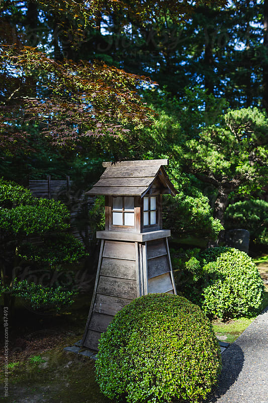 Wooden lantern in Japanese garden by michela ravasio for Stocksy United