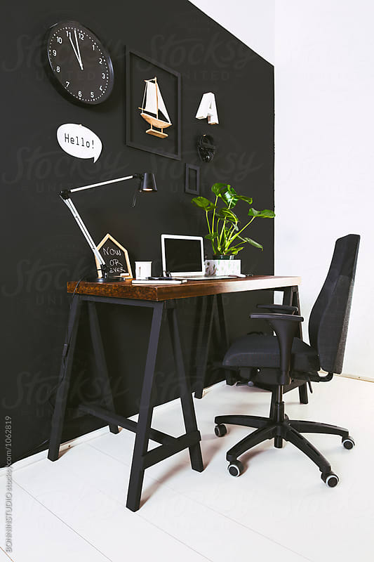 Black workspace.  by BONNINSTUDIO for Stocksy United