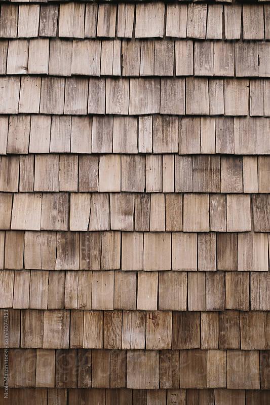 wood shingle texture wall by Nicole Mason for Stocksy United