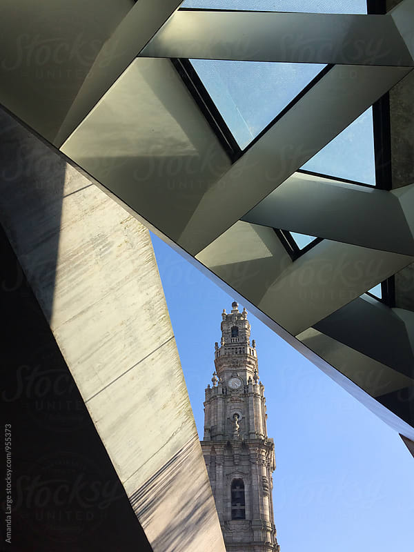 View of Clerigos Tower from Passeio dos Clerigos shopping Centre in Porto, Portugal by Amanda Large for Stocksy United
