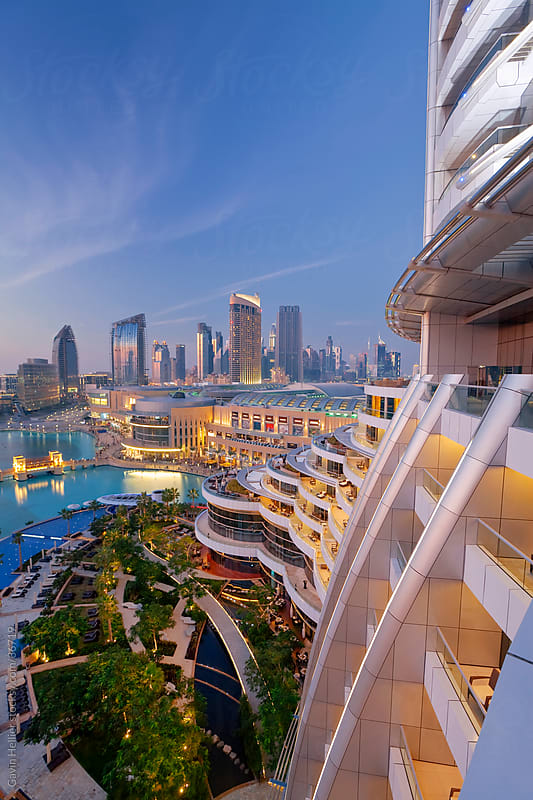Cityscape seen from rooftop bar, Dubai,  United Arab Emirates, Middle East by Gavin Hellier for Stocksy United