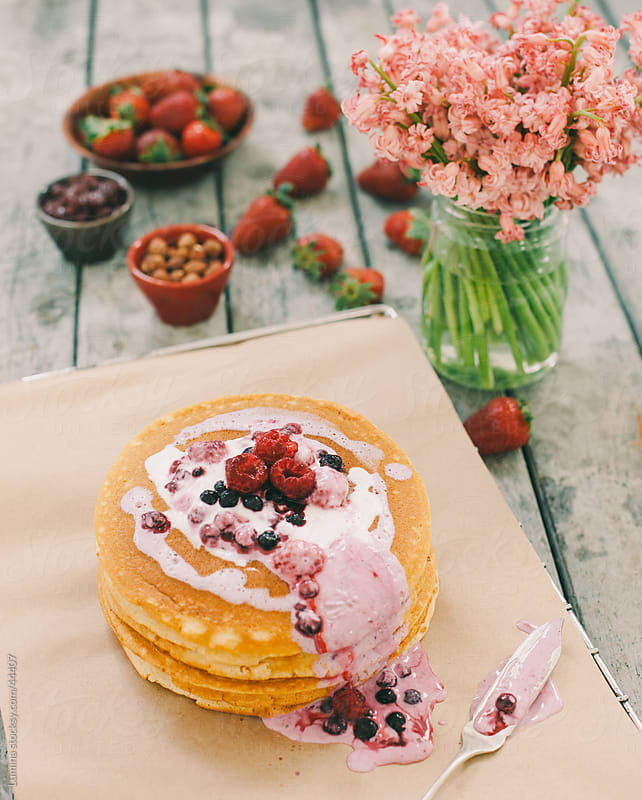 Pancakes with Fruit Topping by Lumina for Stocksy United