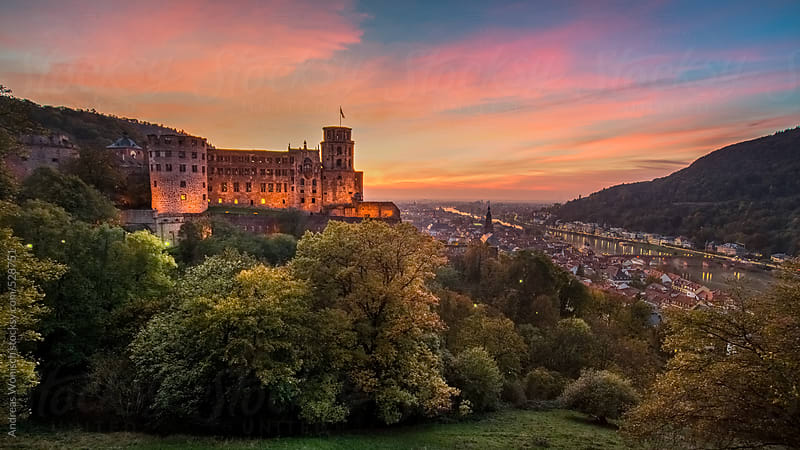 Castle and City of Heidelberg at Sunset by Andreas Wonisch for Stocksy United