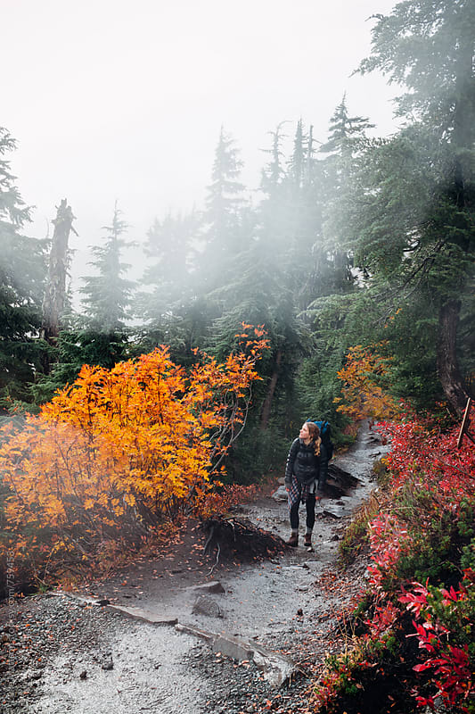 Young Female Backpacker Hiking Along Trail Through Autumnal Forest by Luke Mattson for Stocksy United