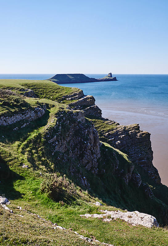 Worms Head from Rhossili. Wales, UK. by Liam Grant for Stocksy United