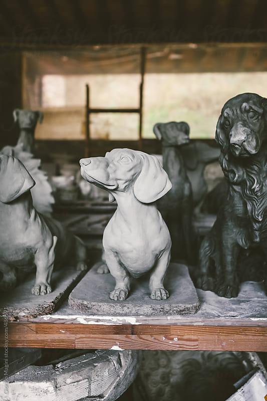 Terracotta Statue of a Basset Dog in a Ceramics Studio by Giorgio Magini for Stocksy United