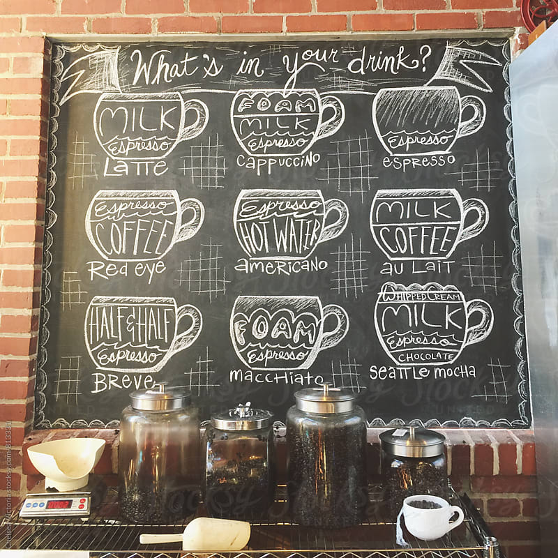 Different kinds of coffee at a cafe by Chelsea Victoria for Stocksy United