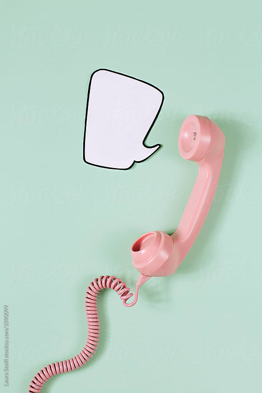 Old fashioned phone handset saying I am so retro inside comic bubble by Laura Stolfi for Stocksy United