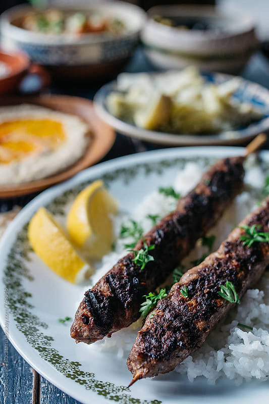 Lamb kefta skewers by Gabriel (Gabi) Bucataru for Stocksy United