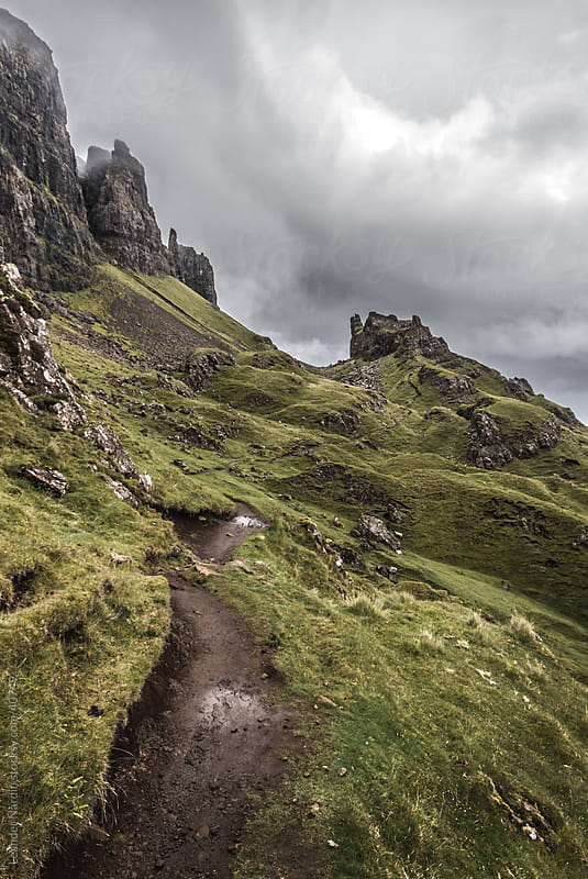 mystical trail in quiraing by Leander Nardin for Stocksy United