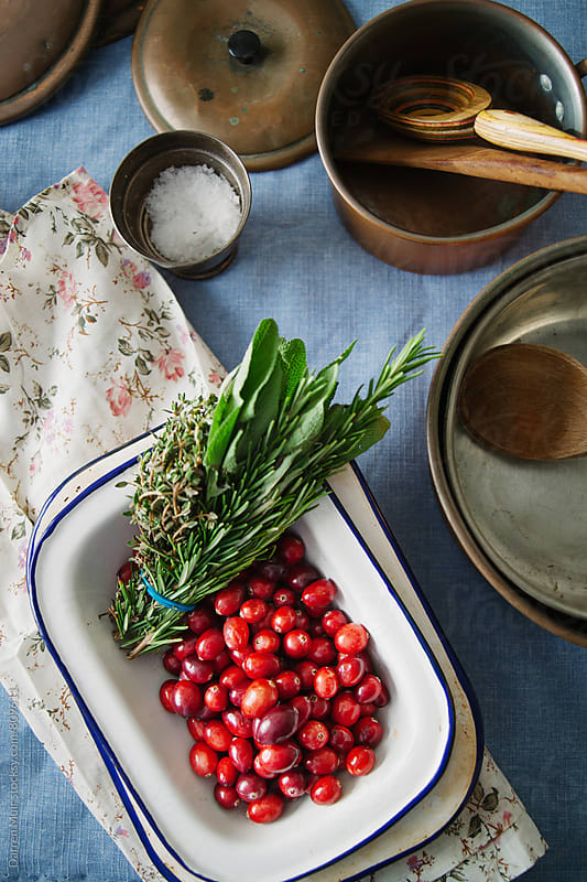 Cranberries and fresh herbs. by Darren Muir for Stocksy United
