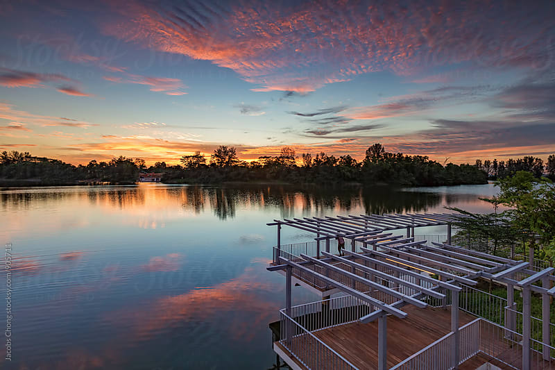 Colorful Sunset Over Punggol Park by Jacobs Chong for Stocksy United