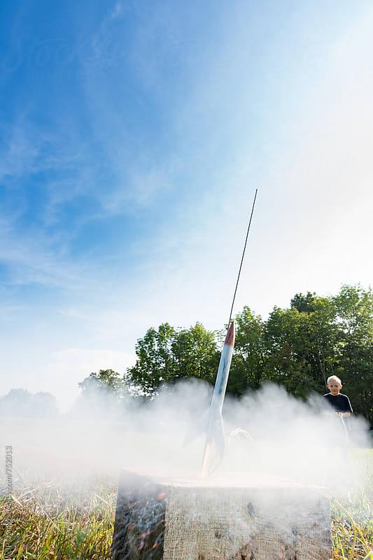 Creative Little Boy Rocket Scientist Home Made Model Rocket Launch by JP Danko for Stocksy United