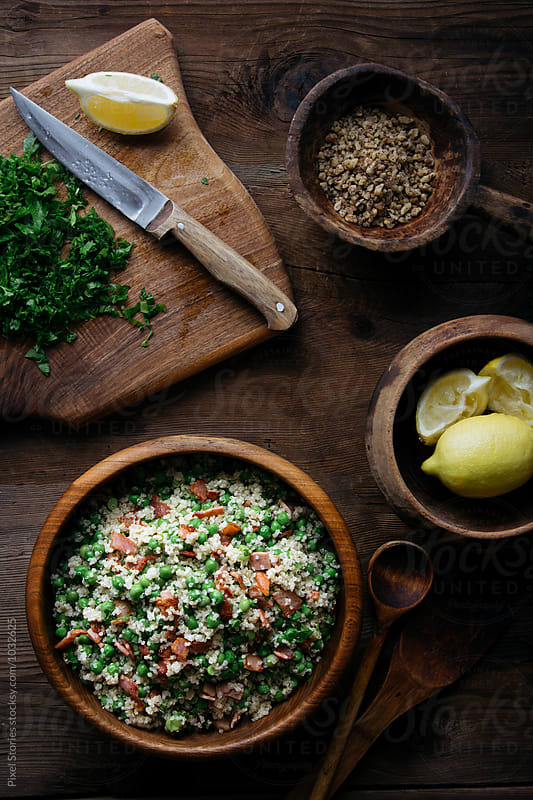 Quinoa bacon salad by Pixel Stories for Stocksy United