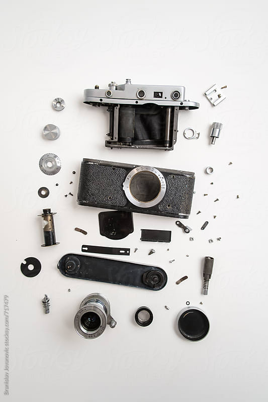 Disassembled Analog Camera on White Background by Brkati Krokodil for Stocksy United