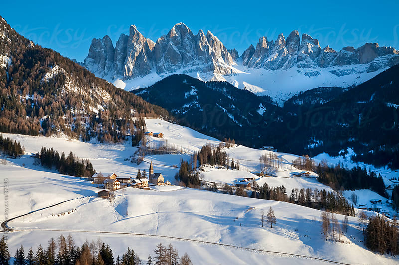 St. Magdalena village and church, Le Odle Group / Geisler Spitzen (3060m), Val di Funes, Italian Dolomites mountains, Trentino-Alto Adige, South Tirol (Tyrol), Italy, Europe by Gavin Hellier for Stocksy United