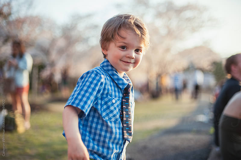 Happy Toddler Boy At The Washington DC Cherry Blossom Festival by Cameron Whitman for Stocksy United