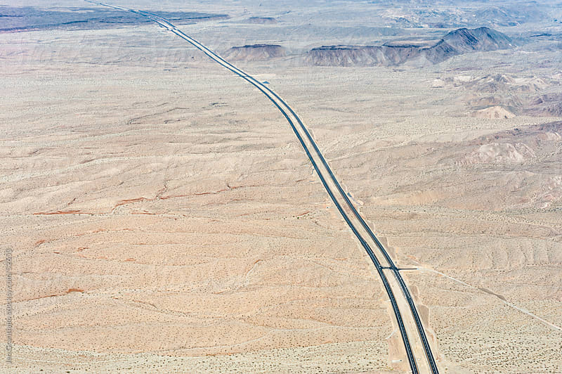 Aerial view of Nevada highway by Jen Grantham for Stocksy United