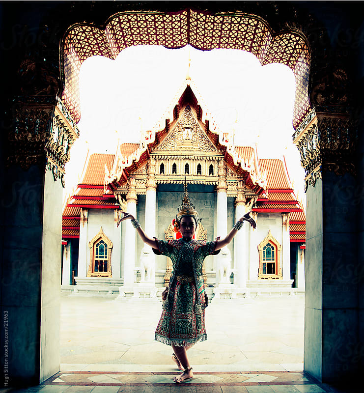 Traditional Thai Dancer. Wat Benchamabophit (The Marble Temple) by Hugh Sitton for Stocksy United