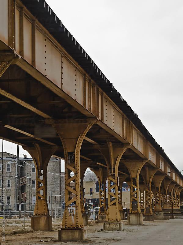 Old Steel bridge in a city by Melanie Kintz for Stocksy United