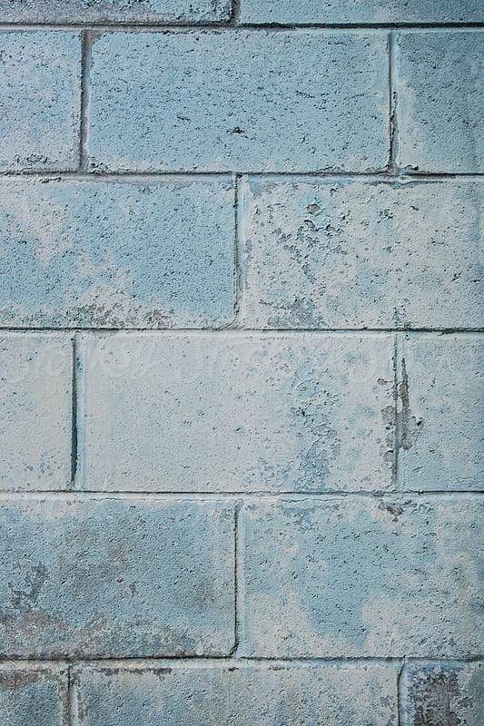 Blue Cinder Block Wall by suzanne clements for Stocksy United