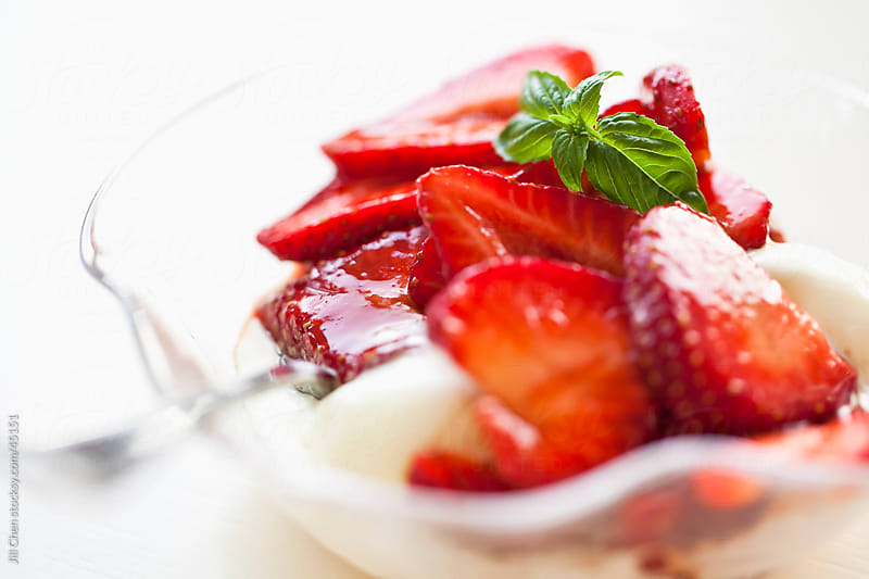 Strawberries with Balasmic Glaze and Vanilla Ice Cream by Jill Chen for Stocksy United