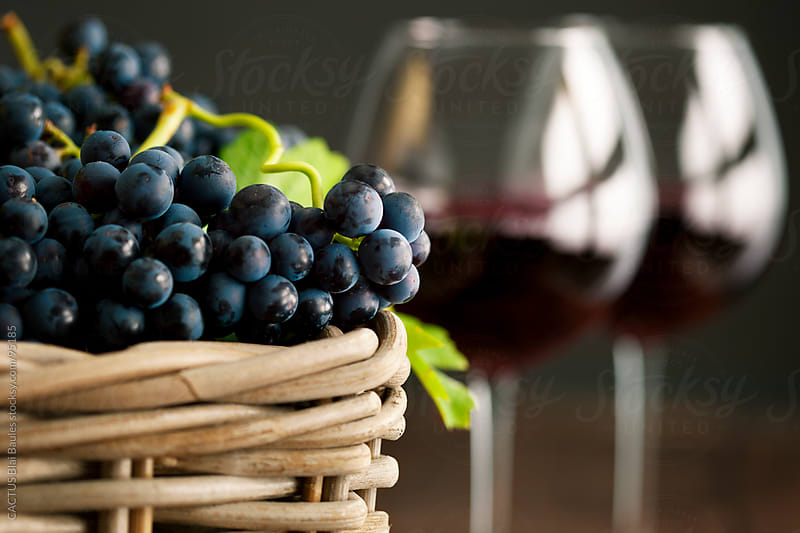 Freshly picked grape with red wine glasses  by CACTUS Blai Baules for Stocksy United