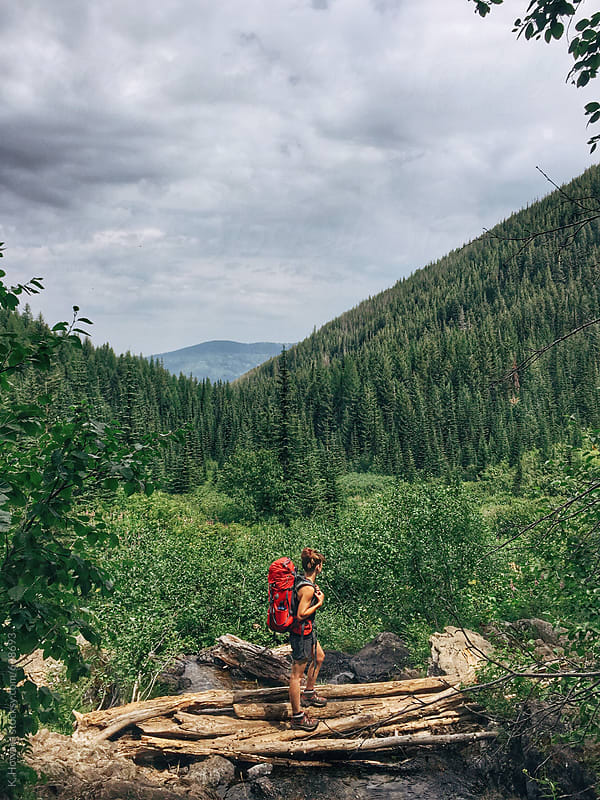 Backpacking Outdoors. by K. Howard for Stocksy United