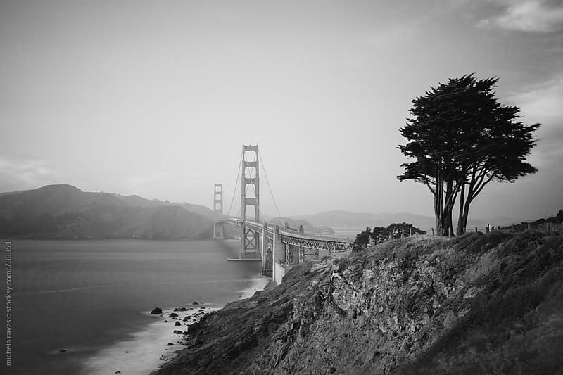 View of San Francisco Bay with Golden Gate bridge in black and white by michela ravasio for Stocksy United