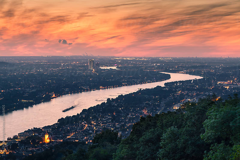 The River Rhine at Bonn (Germany) Shortly after Sunset by Tom Uhlenberg for Stocksy United