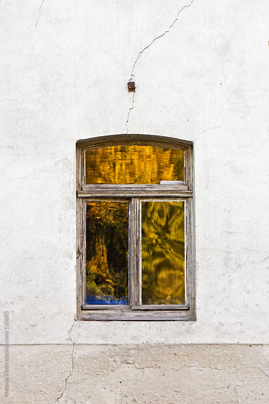 Old window with fall colors reflecting in the glass by Melanie Kintz for Stocksy United