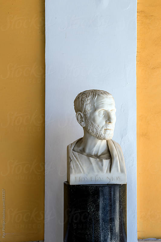 Bust of Poseidonios in the Achilleion Corfu Greece. by Paul Phillips for Stocksy United