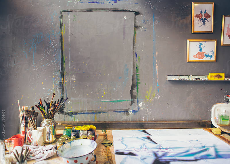 Messy artist's studio  by Jovo Jovanovic for Stocksy United