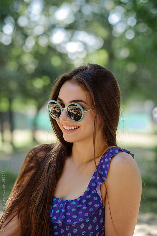 Portrait of Beautiful Brunette Girl with Sunglasses by Aleksandra Jankovic for Stocksy United