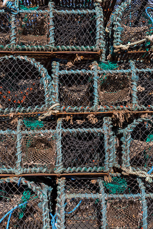 Lobster, Crab and Crayfish traps stacked  to dry by Paul Phillips for Stocksy United