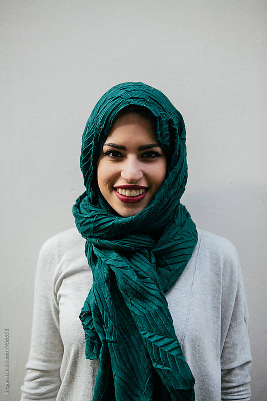 Beautiful persian woman wearing Muslim headscarf by kkgas for Stocksy United