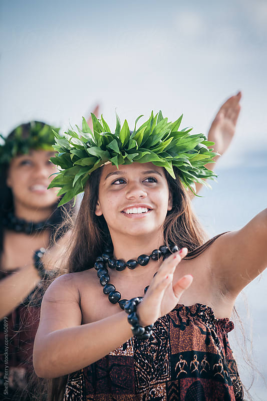 Portrait of a Traditional Hawaiian Hula Dancer Teen in Action by Shelly Perry for Stocksy United