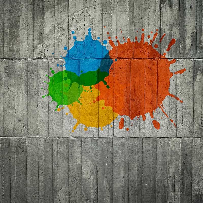 Color Splash on Concrete Wall by Goldmund Lukic for Stocksy United