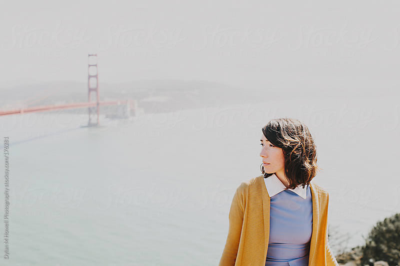 Girl and the Golden Gate by Dylan M Howell Photography for Stocksy United