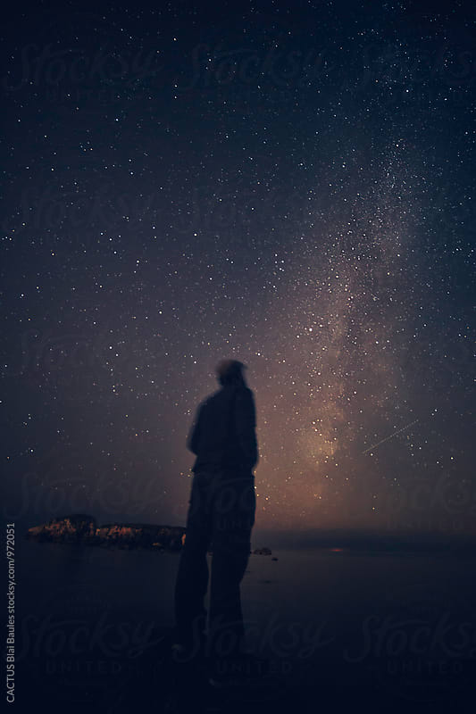 Man under the milky way by CACTUS Blai Baules for Stocksy United