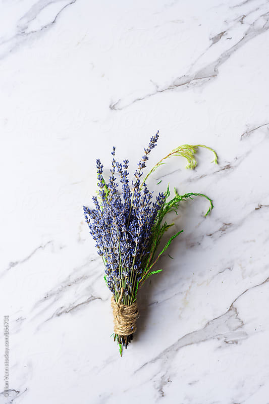 making a dried flower bunch with lavender by Gillian Vann for Stocksy United