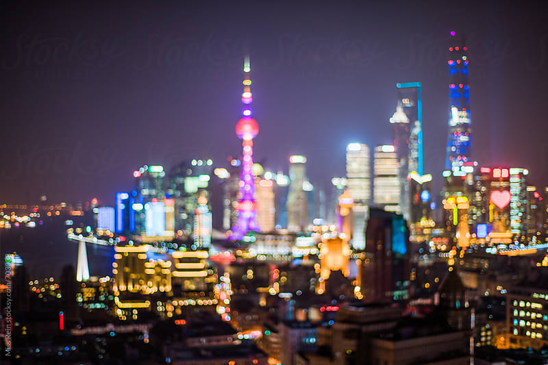 shanghai unfocused night by Miss Rein for Stocksy United