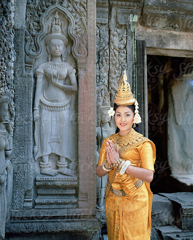 Traditional Cambodian apsara dancer, temples of Angkor Wat, Siem Reap Province, Cambodia by Gavin Hellier for Stocksy United