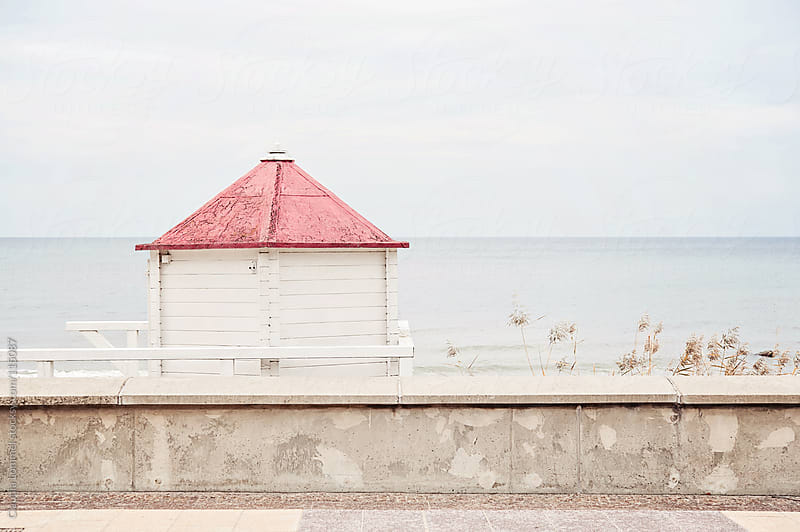 White Wooden Hut with Red Roof on the Coast, Baltic Sea, Germany, Europe by Claudia Lommel for Stocksy United