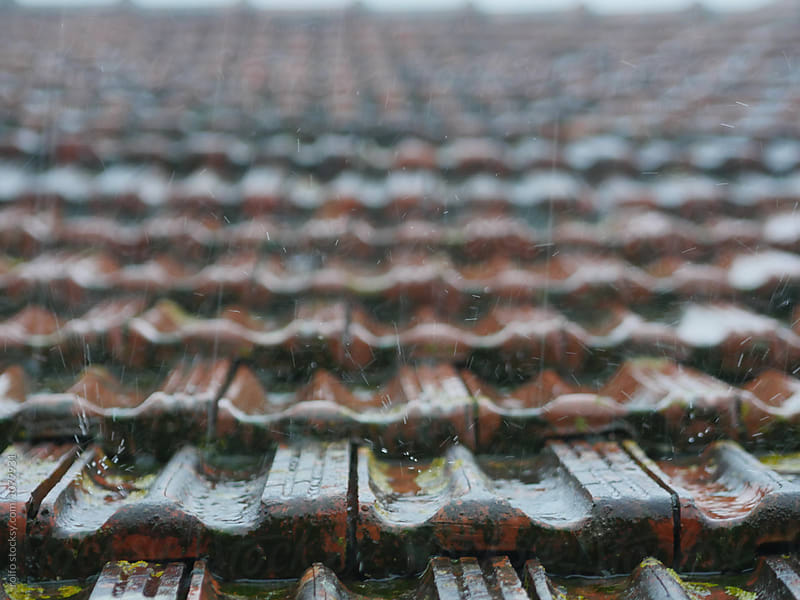 Rain on the roof of the house by rolfo for Stocksy United
