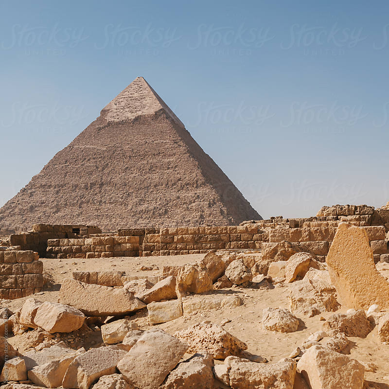 The great pyramid of Giza just outside of Chiro, Egypt by Shelly Perry for Stocksy United