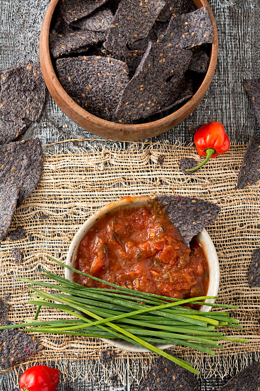 Organic Blue Corn Nacho Chips and Salsa by Studio Six for Stocksy United