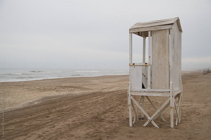 Old typical lifeguard house by Leandro Crespi for Stocksy United