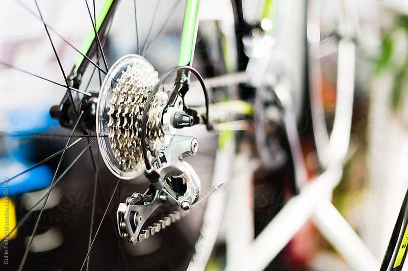 Eight speed transmission of modern mountain bike in close-up. by Guille Faingold for Stocksy United
